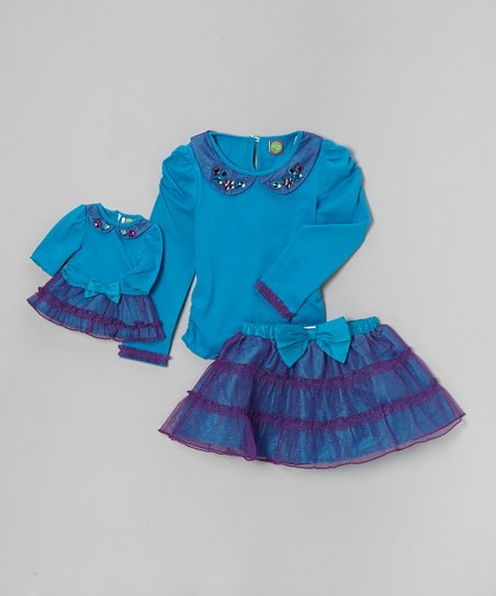 Turquoise Sparkle Scooter Set & Doll Outfit - Girls