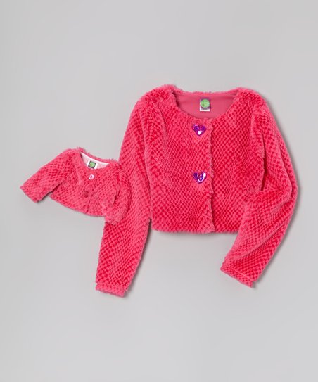 Pink Faux Fur Jacket & Doll Jacket - Girls