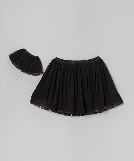 Black Sequin Tutu & Doll Tutu - Girls