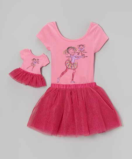 Pink Dancing Girl Leotard Set & Doll Outfit - Girls
