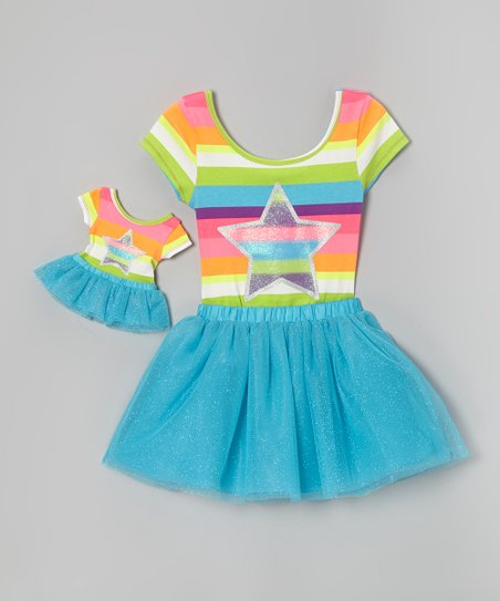 Rainbow Stripe Star Leotard Set & Doll Outfit - Girls