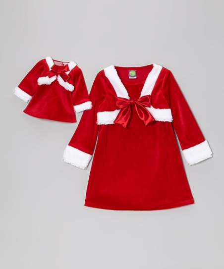 Red & White Faux Fur Bow Dress & Doll Dress - Toddler & Girls