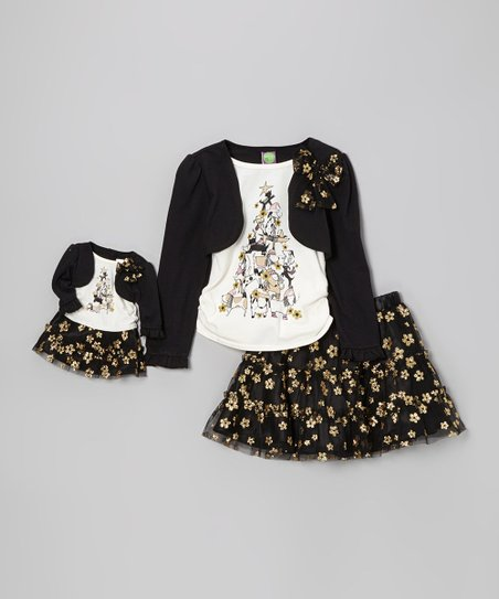 Black & White Floral Skirt Set & Doll Outfit - Toddler & Girls