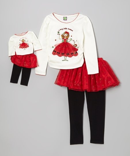 Red 'Merry' Skirted Tunic Set & Doll Outfit - Girls