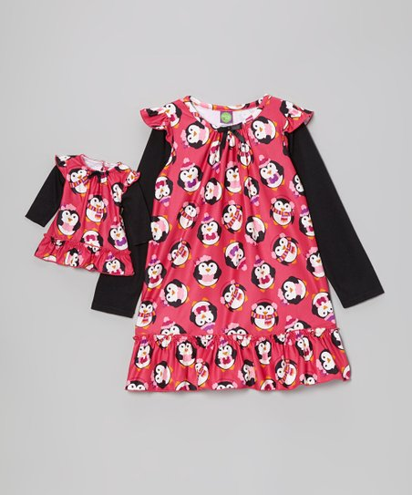 Pink & Black Penguin Nightgown & Doll Outfit - Girls