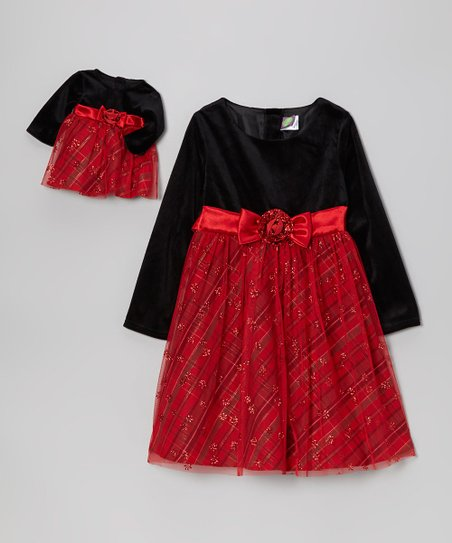 Red & Black Plaid Velour Dress & Doll Dress - Toddler & Girls