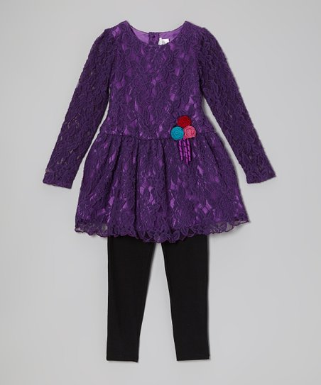 Purple Rosette Dress & Leggings - Toddler & Girls
