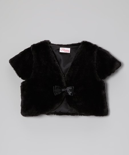 Black Faux Fur Shrug - Toddler & Girls