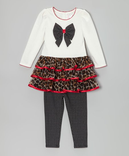 White Bow Tunic & Polka Dot Leggings - Toddler & Girls
