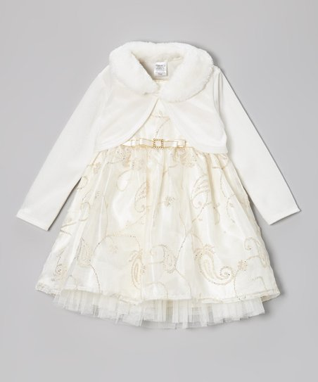 Ivory & Gold Glitter Dress & Bolero - Infant & Toddler
