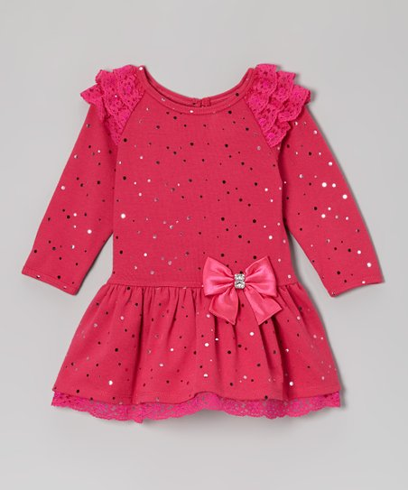 Fuchsia Metallic Polka Dot Dress - Infant