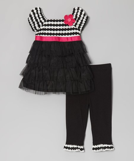 White & Black Stripe Tunic & Leggings - Infant