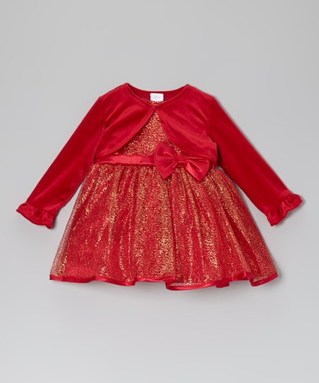 Red Shimmer Dress & Bolero - Infant