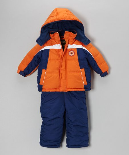Orange Push Play Puffer Coat & Bib Pants - Boys
