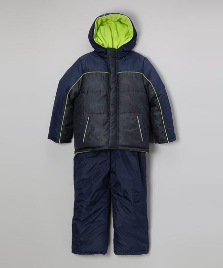 Navy Camo Puffer Coat & Bib Pants - Toddler & Boys