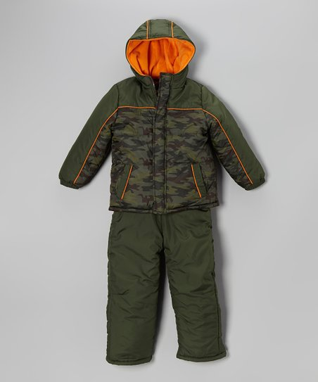 Olive Camo Puffer Coat & Bib Pants - Boys