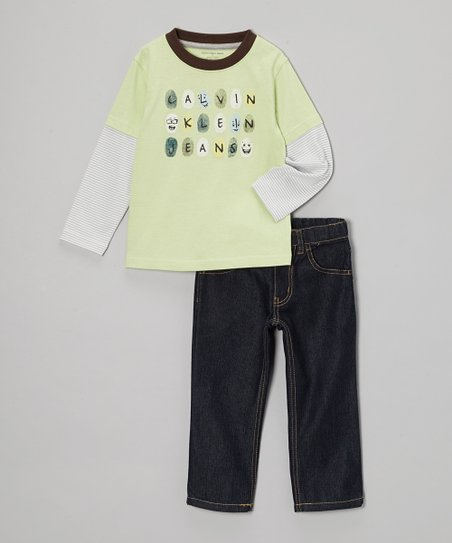 Lime Fingerprint Layered Tee & Jeans - Toddler & Boys