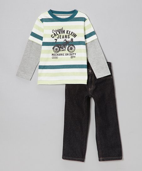 Teal Stripe Layered Tee & Jeans - Toddler & Boys