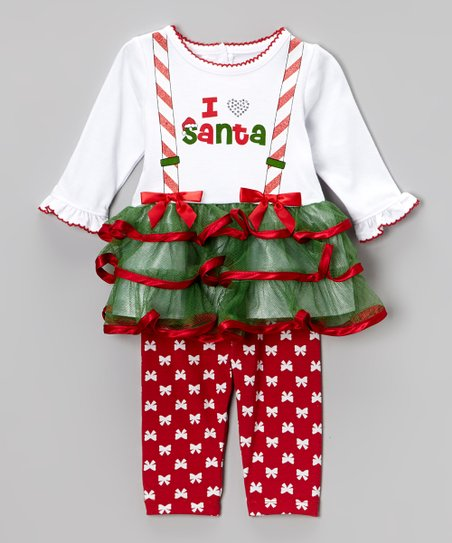 Red & Green 'I LoveSanta' Tunic & Leggings - Infant