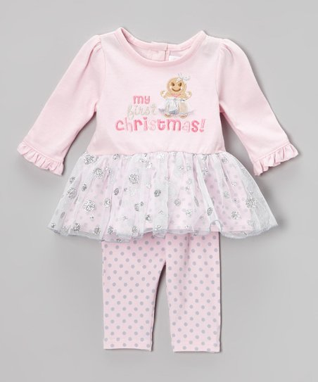 Pink & Gray 'My First Christmas' Tunic & Leggings - Infant
