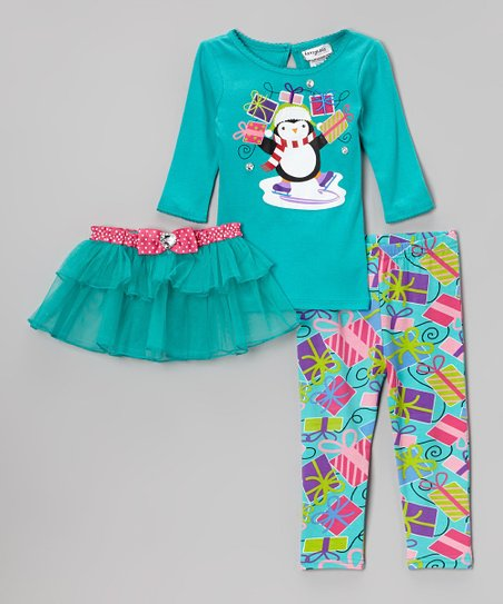 Blue Holiday Tee Set - Toddler & Girls