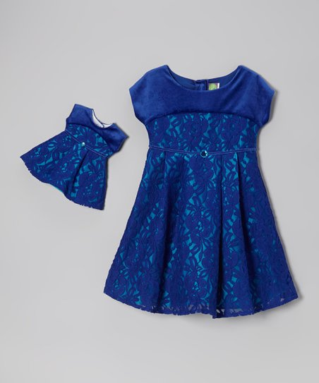 Blue Floral Dress & Doll Dress - Girls