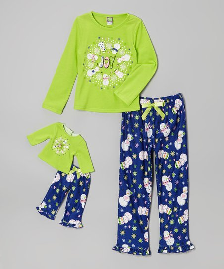 Lime Snowman Pajama Set & Doll Outfit - Girls