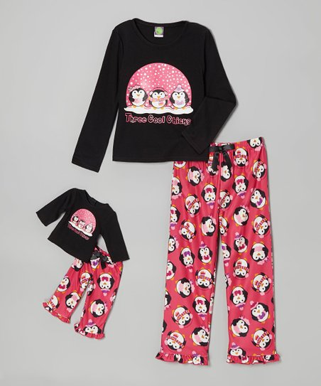 Black Penguin Pajama Set & Doll Outfit - Girls