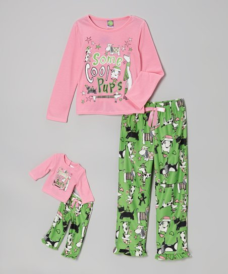 Mint Doggie Pajama Set & Doll Outfit - Girls