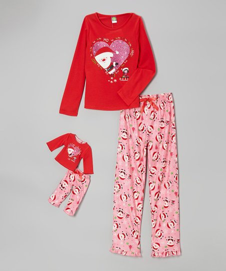 Red Santa Pajama Set & Doll Outfit - Girls