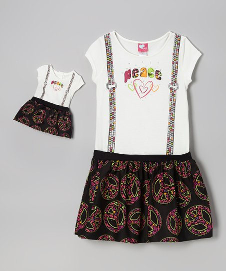 'Peace' Dress & Doll Outfit - Girls