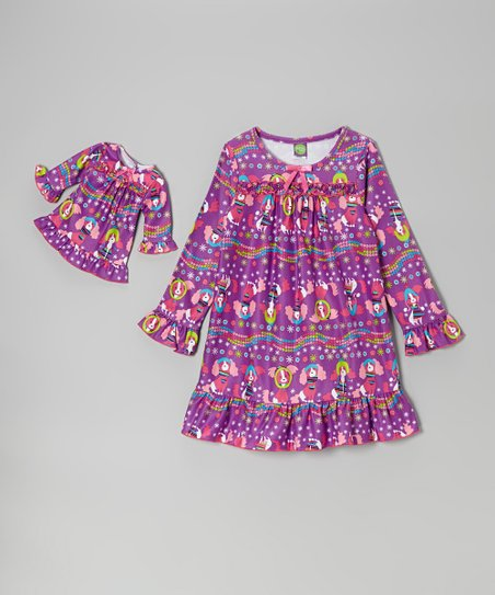 Purple Puppies Nightgown & Doll Nightgown - Girls