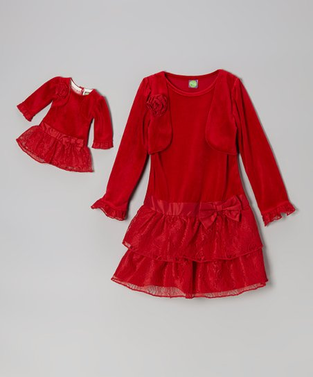 Red Velour Dress Set & Doll Outfit - Girls