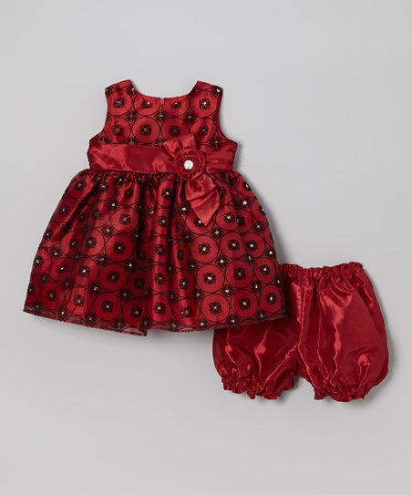 Red & Black Flocked Rhinestone Floral Dress & Bloomers - Infant