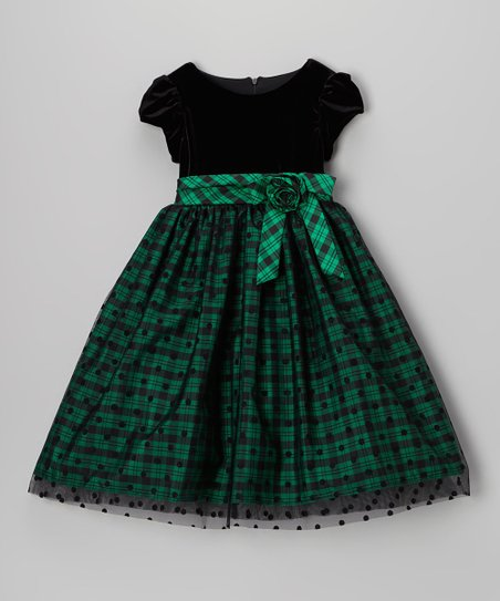 Green & Black Plaid Polka Dot Cap-Sleeve Dress - Toddler & Girls