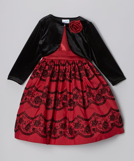 Burgundy Flocked Glitter Dress & Black Bolero - Toddler & Girls