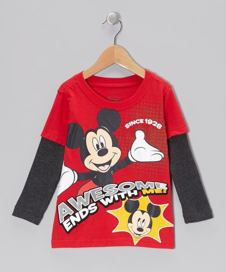 Red 'Awesome' Mickey Layered Tee - Toddler & Kids