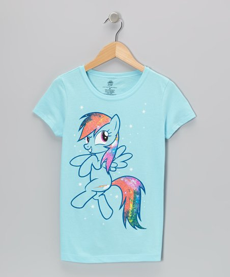Blue Rainbow Dash Glitter Tee - Girls