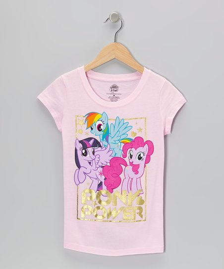 Light Pink & Gold 'Pony Power' Tee - Girls