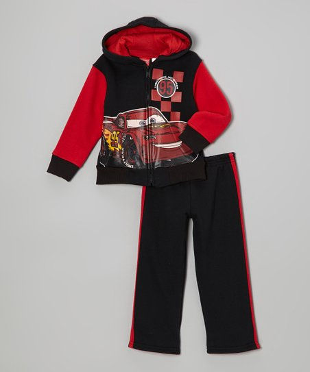 Black & Red Cars Zip-Up Hoodie & Pants - Toddler