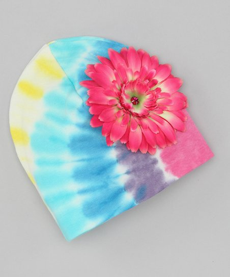 Pastel Tie-Dye Daisy Beanie
