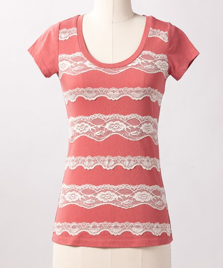 Dusty Cedar Lace Line Top