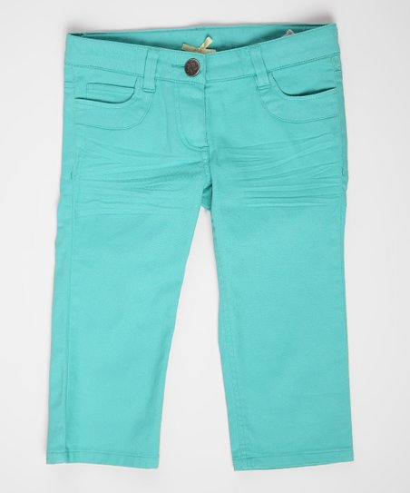 Pool Blue Skinny Crop Jeans - Girls