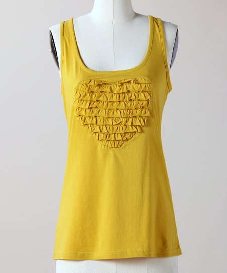 Bamboo Yellow Ruffle Love Tank