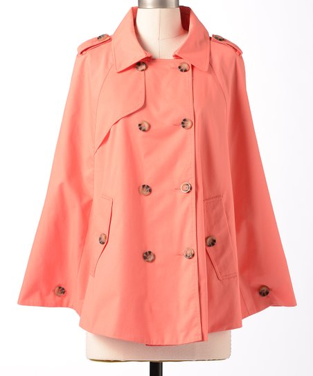 Coral Partly Cloudy Cape-Sleeve Jacket