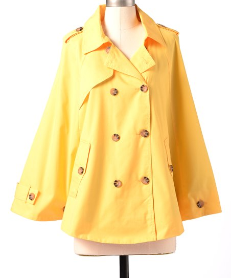 Lemon Zest Partly Cloudy Cape-Sleeve Jacket