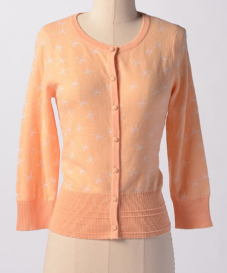 Peach Bows & Bows Cardigan