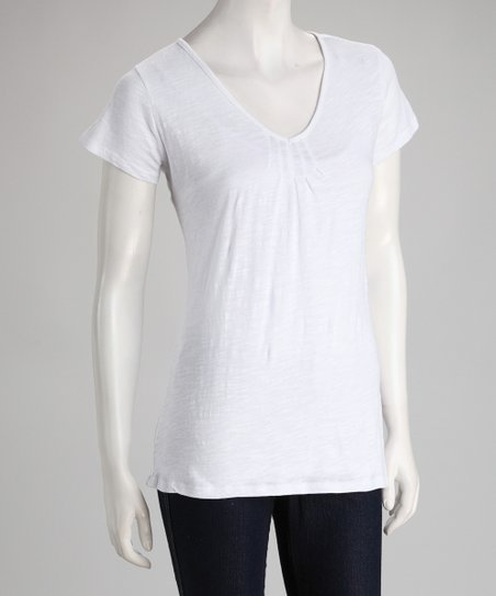 White V-Neck Tee
