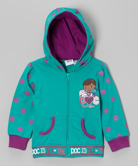 Teal Polka Dot Doc McStuffins Zip-Up Hoodie - Toddler & Girls