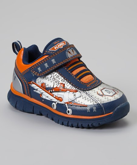 Navy & Orange Planes Light Up Sneaker - Toddler & Boys